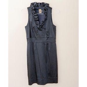 Taylor ruffle collar Navy stretch satin dress